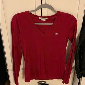Lacoste red long sleeve shirt